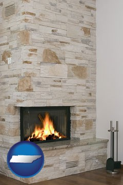 a limestone fireplace - with Tennessee icon