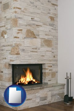 a limestone fireplace - with Utah icon