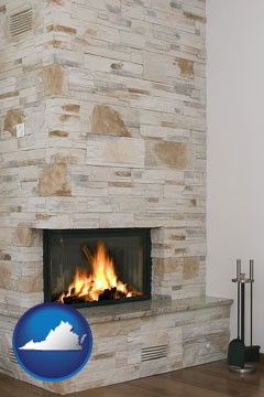 a limestone fireplace - with Virginia icon