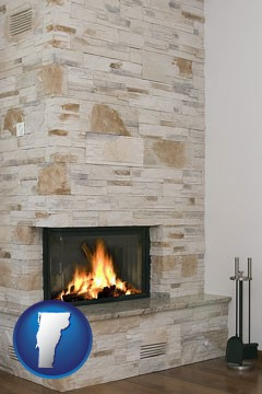 a limestone fireplace - with Vermont icon