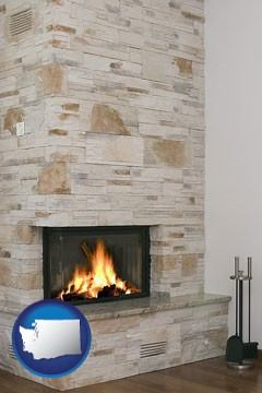 a limestone fireplace - with Washington icon