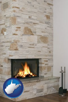 a limestone fireplace - with West Virginia icon