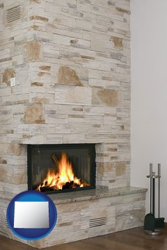 a limestone fireplace - with Wyoming icon