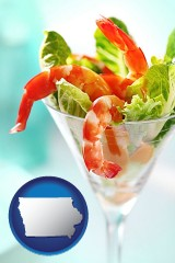 iowa map icon and a shrimp cocktail
