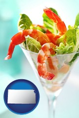 kansas map icon and a shrimp cocktail