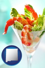 new-mexico map icon and a shrimp cocktail