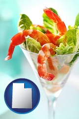 utah map icon and a shrimp cocktail
