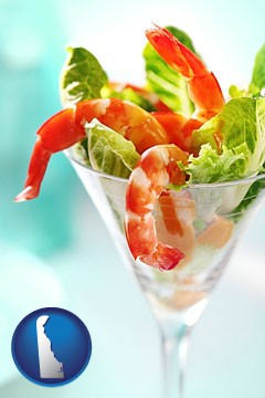 a shrimp cocktail - with Delaware icon