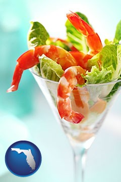 a shrimp cocktail - with Florida icon