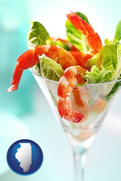 a shrimp cocktail - with Illinois icon