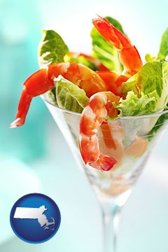 a shrimp cocktail - with Massachusetts icon