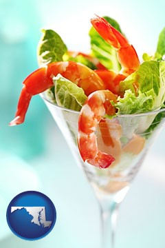 a shrimp cocktail - with Maryland icon