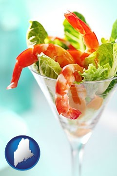 a shrimp cocktail - with Maine icon