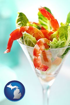 a shrimp cocktail - with Michigan icon