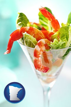 a shrimp cocktail - with Minnesota icon