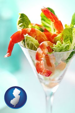 a shrimp cocktail - with New Jersey icon