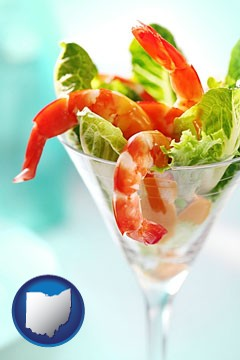 a shrimp cocktail - with Ohio icon