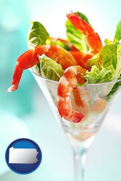 a shrimp cocktail - with Pennsylvania icon