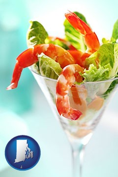a shrimp cocktail - with Rhode Island icon