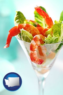a shrimp cocktail - with Washington icon