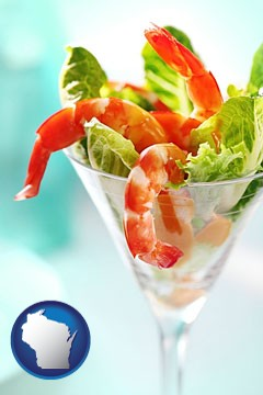 a shrimp cocktail - with Wisconsin icon
