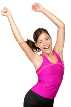 a happy young woman wearing fitness clothing