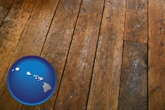 hawaii map icon and a distressed wood floor