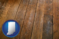 indiana map icon and a distressed wood floor