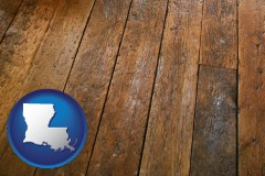 louisiana map icon and a distressed wood floor