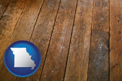 missouri map icon and a distressed wood floor