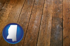 mississippi map icon and a distressed wood floor