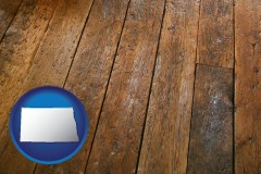 north-dakota map icon and a distressed wood floor