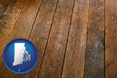 rhode-island map icon and a distressed wood floor
