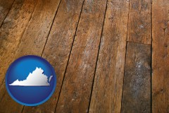 virginia map icon and a distressed wood floor