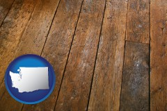 washington map icon and a distressed wood floor