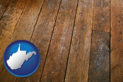 west-virginia map icon and a distressed wood floor