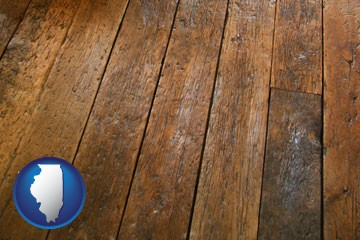 a distressed wood floor - with Illinois icon