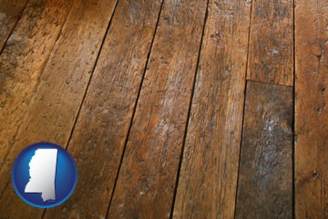 a distressed wood floor - with Mississippi icon