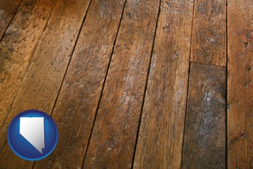 a distressed wood floor - with Nevada icon