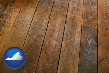 a distressed wood floor - with Virginia icon