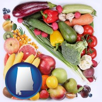 al map icon and fruits and vegetables