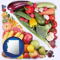 az map icon and fruits and vegetables