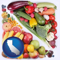 ca map icon and fruits and vegetables