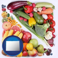 co map icon and fruits and vegetables