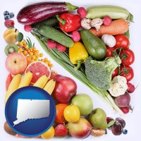 ct map icon and fruits and vegetables