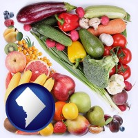 washington-dc map icon and fruits and vegetables