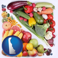 de map icon and fruits and vegetables