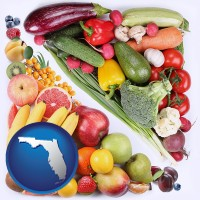 fl map icon and fruits and vegetables