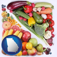 ga map icon and fruits and vegetables