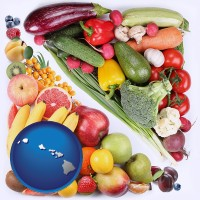 hi map icon and fruits and vegetables